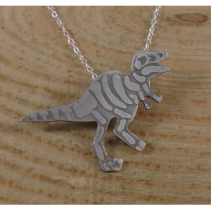 Sterling Silver Tyrannosaurus Fossil Necklace