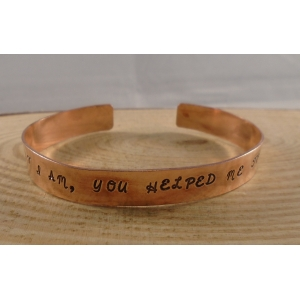 Copper Stamped 'What I Am' Adjustable Bangle