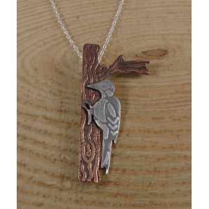 Sterling Silver and Copper Woodpecker Necklace