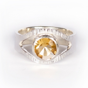 Concave-cut citrine ring, set in sterling silver with bark texture