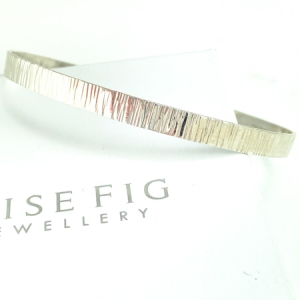 Sterling silver bangle - oval shaped - wide - bark texture