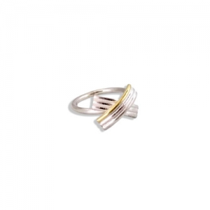 Gold and Silver Bow Ring - on white background