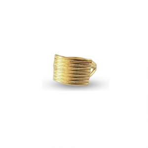 Gold Striped Textured Ring - statement gold ring on white background