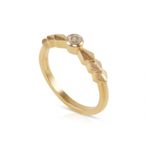 Zen Solitaire Ring in gold vermeil with white topaz