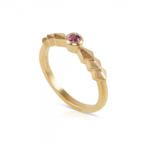 Zen Solitaire Ring in gold vermeil with rhodolite garnet