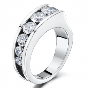 Silver CZ Tapered Ring