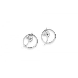 Metamorphosis small circle silver ear studs