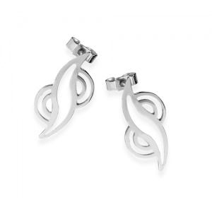 Metamorphosis Small Sinuous Silver Ear Studs