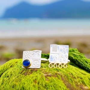 Sterling silver cufflinks, men's square cufflinks, handmade designer asymmetrical cufflinks