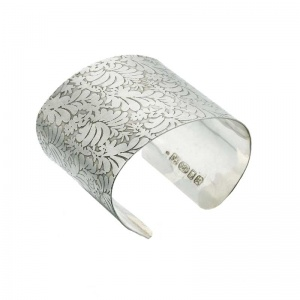 Volutes Etched Silver Cuff
