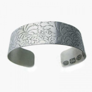 Volutes Etched Silver Open Bangle
