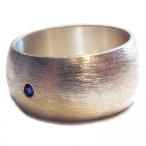 Wide Silver Ring with Sapphire
