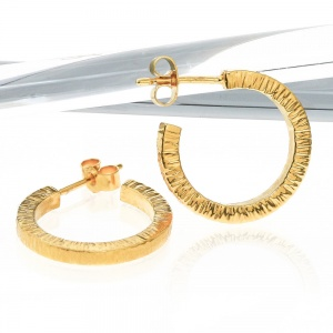 Gold Vermeil Hammered Hoop Earrings