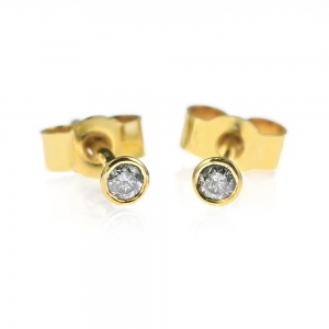 Mini Gold and Grey Diamond Stud Earrings - 2mm