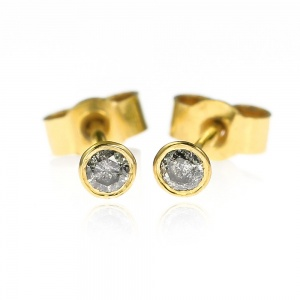 Mini Gold and Grey Diamond Stud Earrings - 2.5mm