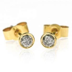 Small 18ct Gold and Grey Diamond Stud Earrings - 2.7mm