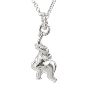 Silver Happy Elephant Necklace
