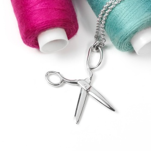 Solid Silver Dressmakers Scissors Necklace