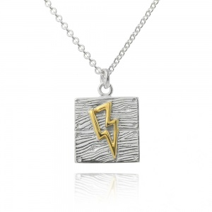 Silver and Gold Neon Art Lightning Bolt Necklace