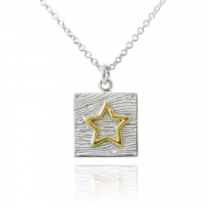 Silver and Gold Neon Art Star Necklace