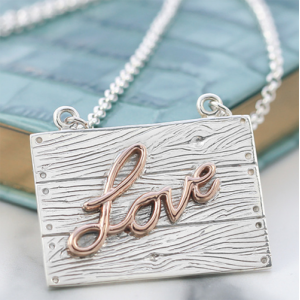 Silver Rose Gold Neon Art Love Necklace