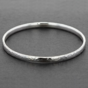 'D' Shape Hammered Silver Bangle