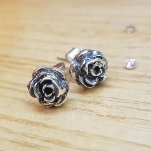 Oxidised Silver Rose Earrings