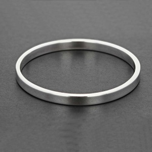 Plain Flat Profile Silver Bangle
